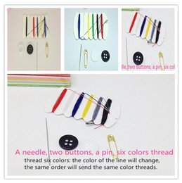Wholesale Thread For Sewing Bags - 200sets Mini portable Sewing kit for travel home& Hotel supplies Needle Thread travel Household Tools Hand Sewing Bag 6 lines
