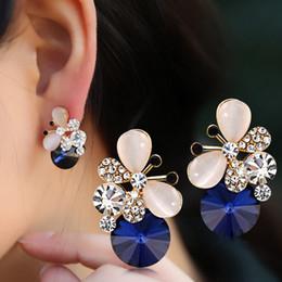 silberplatte kaufen Rabatt Heiß Kaufen Sie neue Entwurfs-Qualitäts-elegante silberne überzogene blaue Opal-Kristallohrringe Reizender Rhinestone-Schmetterlings-Ohrring oorbellen