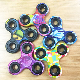 Wholesale Ads Single - Camouflage plastic ABS Fidget Spinner with Graphic different pattern hand spinner cheap price EDC tri angle fidgets Focus Toy EDC Toy For AD