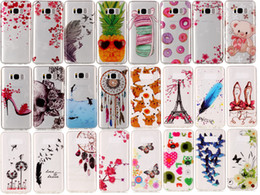 Wholesale Galaxy Skin Back Cover Cases - For Samsung Galaxy S8  S8 Edge Plus Skull Flower Skin TPU IMD Case Soft Gel Rubber Soft Back Phone Cover