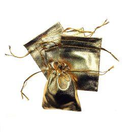 Wholesale Gold Drawstring Organza Bag - Heavy Duty Drawstring Organza Wedding Gift Jewelry Candy Pouch Bags (10x15cm) Gold cloth bag pockets jewelry bag