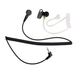 Wholesale Transparent Earpiece - 3.5mm Mono Jack Transparent Flexible Acoustic Tube Earpiece Listen Only Earphone for Walkie Talkie Radio with Coiled Cord C2140A