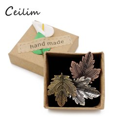 Wholesale East Dance - Popular Fashion jewelry Vintage Pin Maple Leaf Brooch Gold Color Brooches Pins Exquisite Collar For Women Dance Party Accessories With Box