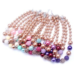 Wholesale Bubblegum Birthday Party - 2PCS Newest Design Gold Color Necklace Birthday Party Gift For Toddlers Girls Beaded Bubblegum Baby Kids Chunky Necklace Jewelry