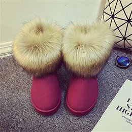 Wholesale Faux Fur Shop - Wholesale-2016 Shop Cheap Australia Hot Sale Cute Winter women's Felt Hair Flat Ankle Snow Boots with Faux Fur Outside for Women femininas