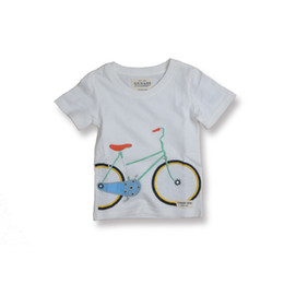 Wholesale Tshirt Toddler Cartoons - Children Clothes Toddler Clothing Fashion Cotton short sleeve boy girl Cartoon embroidery bicycle T-Shirt Kids Tshirt White Shirt Tops A630