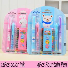 Wholesale Stainless Steel Gel Pen - 12Pcs color ink + 4Pcs fountain pen Big SET Chren 3552 Series E EF M Nib Writing Office Gel Pen student school