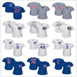 Wholesale Shirts Female - Women Chicago Cubs David Ross 9 Javier Baez Joe Maddon Jason Heyward Jake Arrieta Addison Russell Female Baseball Jerseys White Lady Shirt