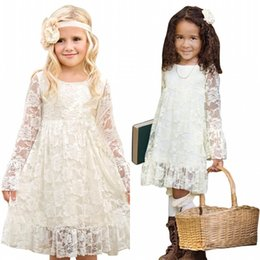 Wholesale Kids Girl Model Dress - Princess Boho Lace Flower Girl Dresses For Summer Garden Weddings Knee Length Crew Neck Kids Formal Wears Girls Birthday Dresses MC0788
