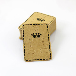 Wholesale Earring Packaging Display - 100pcs lot Wholesale Fashion Jewelry Ear Studs Packaging Display Tag Thick Kraft Paper Earring Card&Tags 4.5*3.2cm Jewelry Display Card