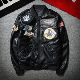 Wholesale Jacket Leather Man Pilot - Wholesale-2017 New High Quality Fashion Black PU Embroidery Pilot Mens Leather Jacket Outwear Coat Free Shipping