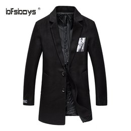 Wholesale Men Long Trench Coat Patterns - Wholesale- Autumn 2016 new Fashion single-breasted Male Medium-Long Slim Pure color patch cloth coat Long Sleeves Trench Coats F12