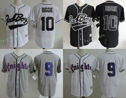 Wholesale Small Boy Shorts - New Biggie Bad Boy #10 Biggie Smalls Black White Jersey New York Knights #9 Roy Hobbs THE NATURAL MOVIE Grey Cool base all Stitched