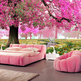Wholesale Fiber Wall Covering - Wholesale- Custom Any Size 3D Romantic Pink Woods Mural Home Decor Wall Paper Roll Bedroom Living Room Sofa Background Wall Covering Murals