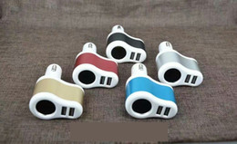 Isqueiros inteligentes on-line-3 em 1 dual usb carregador de carro com interface isqueiro 5 v 2.1a real para smart phone pad 400 pçs / lote