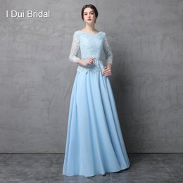 Wholesale Three Floors - Three Quarter Long Sleeve Mother of the Bride Dresses A line Lace Chiffon Floor Length Wedding Mother Dress