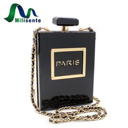 Wholesale Perfumes Paris - Wholesale- Milisente Brand Women Crossbody Bags Perfume Bottle Messenger Handbag Black Paris Acrylic Mini Shoulder Bag Clutch Party Purse