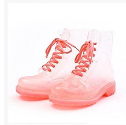 Wholesale Womens Fashion Rain Boots - Clear Rubber Jelly Lace Up Oxford Ankle Combat Rain Boots Womens Shoes Size35-40