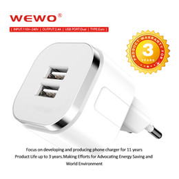Wholesale Charger Adapter Dual - WEWO Dual USB wall EU plug 2.4A AC Power Adapter Wall Charger Fast Charging for Samsung Mobile Phone Iphone 7 7plus