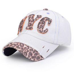 Wholesale Leopard Print Baseball Hats - Hot Fashionable Unisex Jean Cloth Hats Sports Baseball Cap Leopard Print Letter Causal Outdoor Sports Hats Cap Baseball Cap