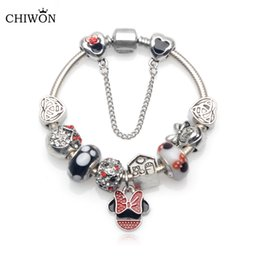Wholesale Kids Beads For Bracelets - Wholesale- Handmade Cute Children Mickey Charms Fit Europe and United States Gift for Women Kids Girl DIY Murano Glass Beads Bracelet