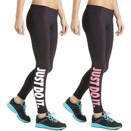 "Wholesale white sport pants women - Women Sport Sex Yoga Leggings "" Just Do It "" Leggins Elastic Tight fitting Pants Slim Fitness Pencil Fashion Trousers LWDK12 WR"