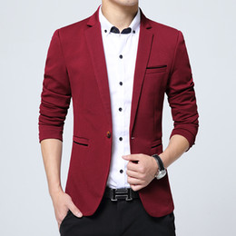 Wholesale Hooded Wedding Dresses - Wholesale- Korean Suits For Men Slim Fit Casual Business Blazer Wedding Dress Blazer Jacket Mens Formal Jacket Cotton Costume Homme M-5XL