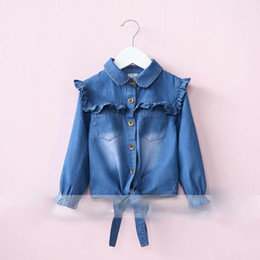 Wholesale Baby Boys Denim Shorts - Everweekend Girls Agaric Laces Denim Tees Cute Baby Turn-down Collar Tops Sweet Children Button Fall Clothing