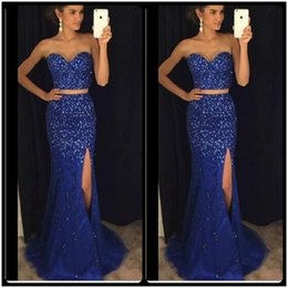 Wholesale Long Beaded Strapless Sweetheart Dress - Sparking Crystals Two Piece Prom Dresses 2017 Vestidos De Gala Side Split Royal Blue Elegant Long Evening Dresses Party Gowns