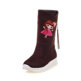 Wholesale High Boots Heels Thigh Zipper - Autumn and winter Korean style slope with thick bottom zipper feet, cartoon tassels, suede, warm medium cylinder boots X566