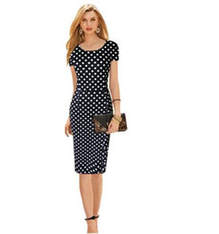 Wholesale Office Professional Plus - 2017 new retro dress Polka Dot Slim large size of professional temperament Tunic dress Office Work Business clothes