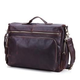 Wholesale High Quality Leather Notebooks - Wholesale- Vintage Genuine leather men briefcase bag business men's laptop notebook high quality Crazy horse leather handbag shoulder bags