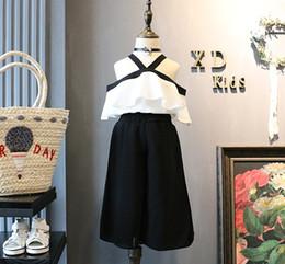 Wholesale Korean Chiffon Pants - 2017 Summer New Korean Children Girls Suits Two-piece Sets Sleeveless Chiffon Leakage Shoulder Tops + Loose Pants B4725