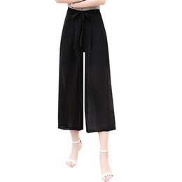 Wholesale Elastic Ankle Length Trousers Legging - Fashion Summer Women Pants Wide Leg Pants Elastic Waist Ankle-Length Trousers Women Capri Loose Casual Pants FL