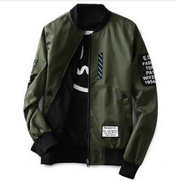Wholesale Wind Pilot - Bomber Jacket Men Pilot with Patches Green Both Side Wear hip hop kanye west Thin Pilot Wind Breaker japanese bomber mens jackets and coats