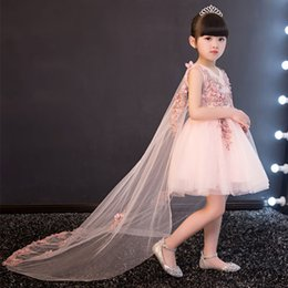 Wholesale Trailing Flowers Wedding Gown - Glizt Appliques Tulle Flower Girl Dress Long Trailing Princess Ball Gown Party Wedding Dress First Communion Dresses for Girl