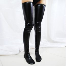 Wholesale Red Latex Stockings - Leg Wear & Stockings Women Sexy Cludwear Black Red Silver Latex Stockings Faux Leather Wet Look Vinyl Fetish Stocking X615