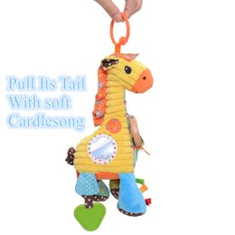 Wholesale Infant Giraffe - Wholesale- Plush Cartoon Animal Giraffe Baby Dolls with Cradlesong Infant Kids Stroller Bed Baby Developmental Educational Training Toy