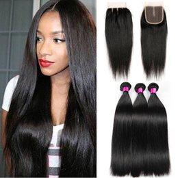 Wholesale Brazilian Straight Closures - Top Lace Closure With 3 Bundles Brazilian Human Hair Weaves Malaysian Indian Peruvian Straight Virgin Hair Grade 8A Brazillian Hair Closures