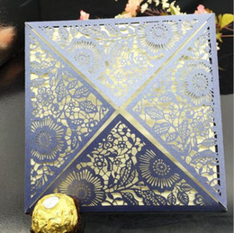 Wholesale Laser Cutting Patterns - Wholesale-10pcs Romantic Paper Laser Cut Invitation Card Greeting Card Delicate Carved Flower Pattern Wedding Card