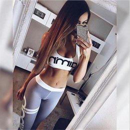 Wholesale Womens Workout Shorts M - 2017 Aimn letter Print womens tracksuit set two piece set top and pants fitness runway workout gymshark satin tracksuit