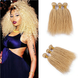 Wholesale Brazilian Blond Weave - 100% Brazilian Human Hair Extensions Double Weft Remy Blond Weave #613 Mixd Lengths Afro Kinky Curly Virgin Hair Bundles 3Pcs Lot