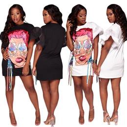 Wholesale Punk Clothing Women Xl - 2017 New Fashion Brand Women Clothing Big Sizes Faces Ladies Printing Graffiti Holiday Beach Style Punk Rock Casual Loose Cotton Shirt Dress