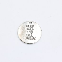 Wholesale Tibetan Jewelry Accessories Wholesale - Wholesale- Tibetan Silver Plated Keep Calm and Kill Zombies Charms Pendants Bracelet Necklace Jewelry Making Accessories DIY 20x20mm
