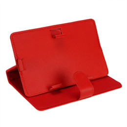 Wholesale Tablet Folder - Wholesale- PROMOTION! Hot Leather Folder Pouch Cover Skin Case Shell, Tablet Cover, Tablet Case For 7 inch Tablet PC(Red 7 inch)