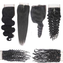 Wholesale Accessories Curly Hair - 7A Brazilian Straight Hair Body Wave Curly Top Lace Closures 1B 4X4 Peruvian Virgin Lace Closures Hair Cheap Human Hair