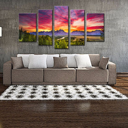 Wholesale Oil Painting Mountains Landscape - 5 Panels Sunset Mountain Painting Wall Art Grand Teton National Park Landscape Picture Print with Wooden Framed Ready to Hang for Home Decor