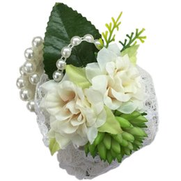 Wholesale Pearl Corsage Bracelet - Brides Wrist corsages with pearl wristband for wedding,prom,dance Atificial flower Bridesmaid Flower Bracelet FX070