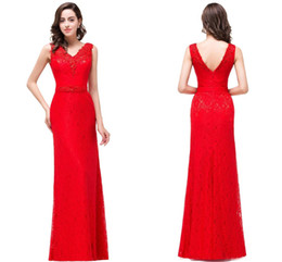 Wholesale Designer Column Sheath - Red Full Lace Floor Length Sheath Designer Prom Dresses V Neck Lace Appliques Sequins Low Back Evening Gowns Cheap Red Carpet Gowns