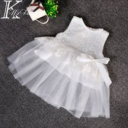 Wholesale Cotton Christening Gowns For Girls - Wholesale- party baby summer baptism favors baby girl christening gowns toddler infant dress for little girl lace cotton white dress